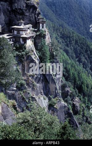 Taktshang Monastery Tiger s Nest Paro Bhutan Buddhist monastery on granite cliffs perched 900m above Paro Holy place - Stock Photo