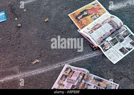Discarded rubbish left on the Strip pavements in Las Vegas, Nevada - Stock Photo