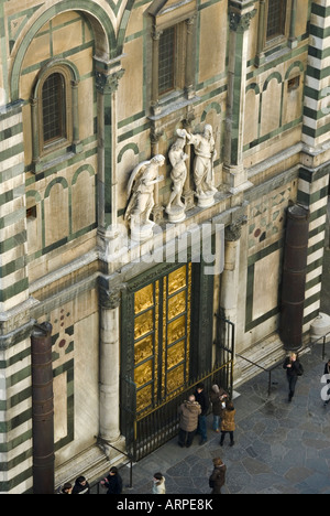 Baptistery doors designed by Lorenzo Ghiberti and called the Gates of Paradise photographed from above from  Bell - Stock Photo