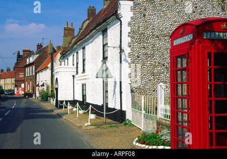 Flint pebble and brick built houses Cley Next The Sea Norfolk England - Stock Photo