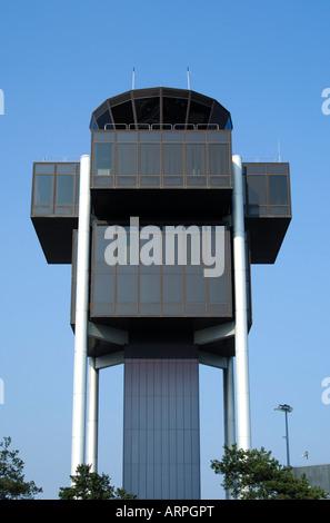 Airport tower building Geneva Cointrin Switzerland - Stock Photo