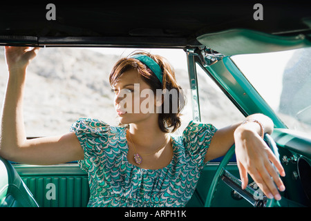Woman in car - Stock Photo