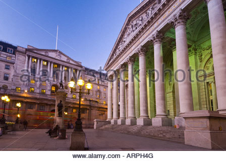 The Bank of England and The Royal Exchange, The City (financial district), London, UK. - Stock Photo