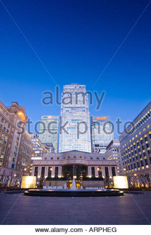 Canary Wharf from Cabot Place, London Docklands, UK. - Stock Photo