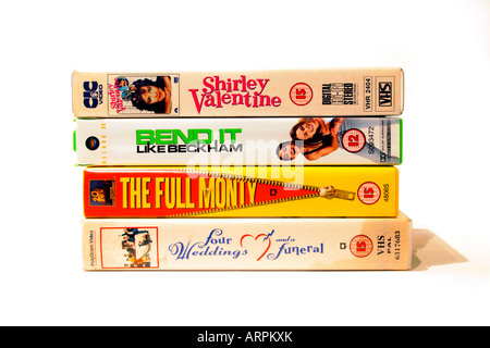A collection of VHS videos of popular British films of the eighties and nineties. Shirley Valentine (1989) Directed - Stock Photo