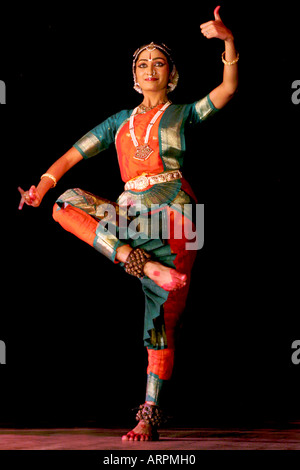 Traditional Bharatanatyam dance to Carnatic Music in South India Asia. - Stock Photo