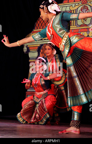 Bharata Natyam dance to Carnatic Music in South India Asia. - Stock Photo
