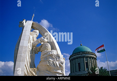 The Statue of Coronation of the First King of Hungary - St. Stephen - by a Papal Envoy in Esztergom, Hungary - Stock Photo
