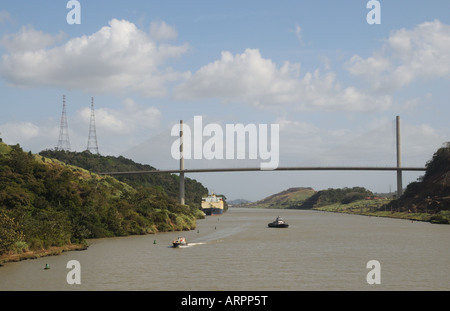 The Centennial Bridge crosses the Panama Canal just north of the Pedro Miguel locks. The bridge opened in 2004. - Stock Photo