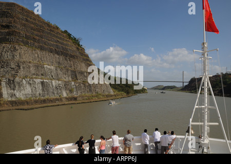 The Galliard Cut of the Panama Canal crosses the Continental Divide. - Stock Photo