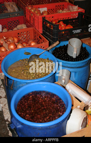 green and black olives selling produce at Market  Lagos Algarve Portugal - Stock Photo