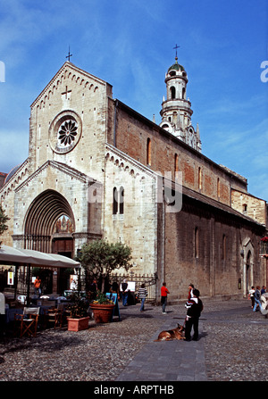 The West front of the 12th Century Cathedral of San Siro at San Remo - Stock Photo