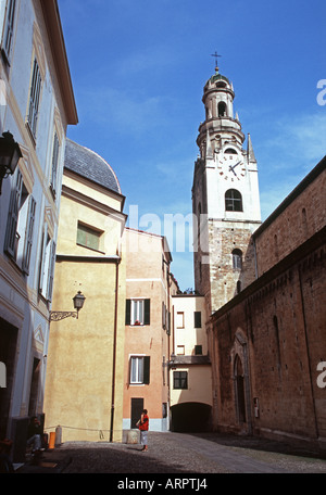 The 12th Century Bell Tower of Cathedral of San Siro at San Remo - Stock Photo