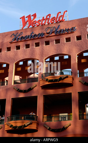 A Portrait Photograph of the Westfield Horton Plaza Sign at the Entrance San Diego, California - Stock Photo