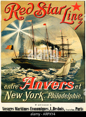 Red Star Line 1893 French poster for the Belgian American shipping line operating between Antwerp and New York - Stock Photo