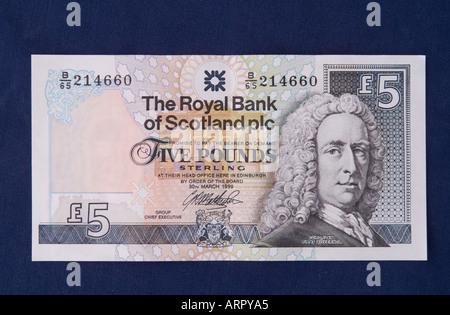 dh Royal Bank of Scotland MONEY SCOTLAND UK Scottish five pound note banknote 5 rbs cut out pounds