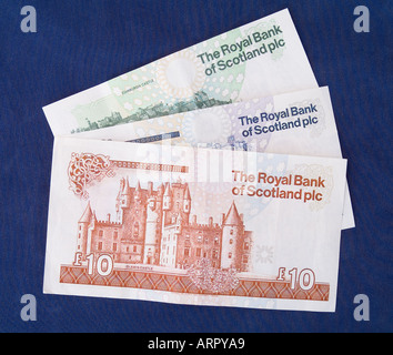 dh Royal Bank of Scotland MONEY SCOTLAND UK Scottish money one five ten pound notes reverse side rbs banknote note banknotes