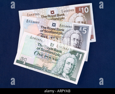 dh Scottish money notes MONEY SCOTLAND UK Royal Bank of Scotland one five ten pound cash rbs currency banknotes - Stock Photo