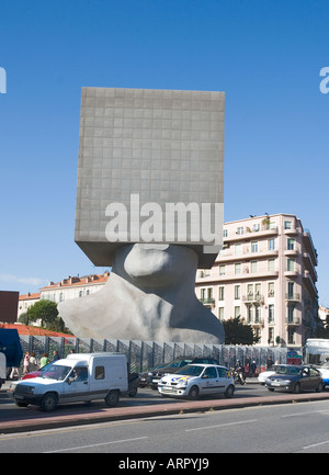 Office block in the shape of a giant head, Esplanade de Victoires, Nice, France - Stock Photo