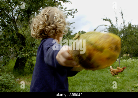 France Four Years Old Girl Feeding Hens In The Garden With A Melon Peel - Stock Photo