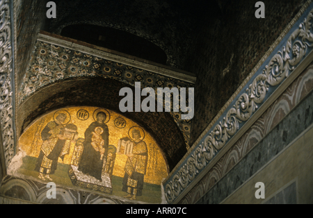 Decorative holy icons on a ceiling entrance, Hagia Sophia (once a basilica, then a mosque and now a museum), Istanbul, - Stock Photo