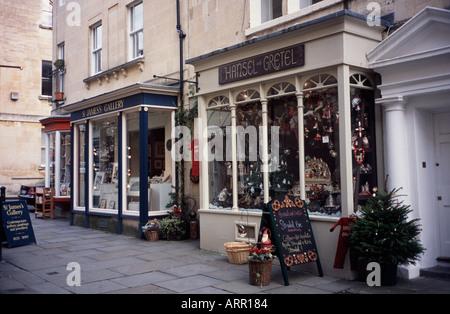 Shops in Margaret Buildings Bath Spa, Somerset, England UK - Stock Photo
