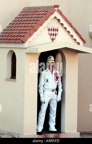 View of Monaco guard at the Rainier Royal Palace - Stock Photo