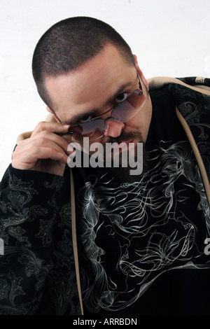 The rapper Bass from the Hip-Hop duo Deuce Mob. - Stock Photo