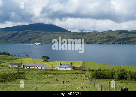 dh  LOCH BROOM ROSS CROMARTY Scotland Croft field CalMac ferry highland isolated countryside uk wester ross shire scottish highlanders farm house