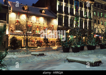 Old montreal street in winter - Stock Photo
