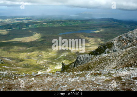 from Muckish Mountain facing northwards, near Creeslough, Ireland (towards Clonmass and Sheephaven Bay, and Downings) - Stock Photo