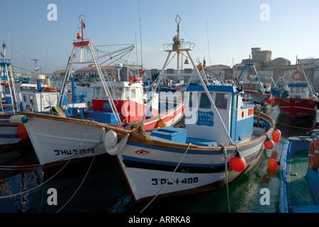 Tarifa Cadiz Province Costa de la Luz Spain Fishing boats in port - Stock Photo