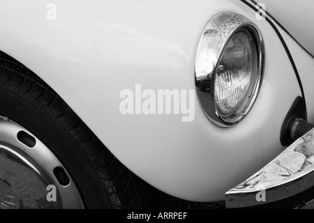 Detail of head light of volkswagen beetle in black and white - Stock Photo