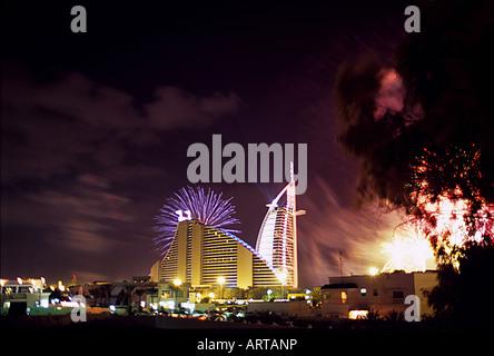 Fireworks at Burj Al Arab on New Year's Eve 2005, Dubai, United Arab Emirates - Stock Photo