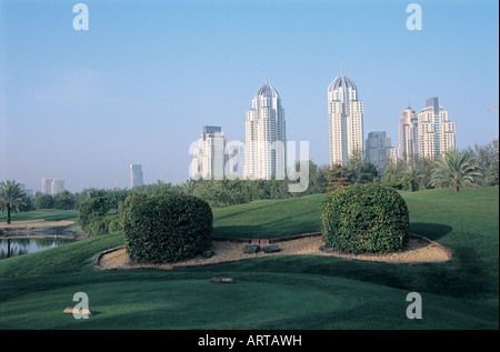 Dubai Marina seen from Emirates Golf Course, Dubai, United Arab Emirates - Stock Photo