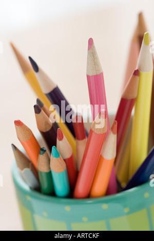 Coloured pencils in a pot - Stock Photo
