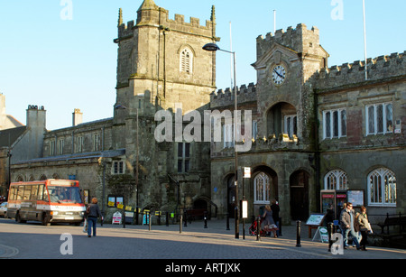 Town hall and St Peters Church in the west country market town of Shaftesbury Dorset England - Stock Photo