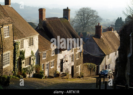 Gold Hill cottages Shaftesbury Dorset England - Stock Photo