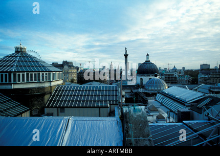 Trafalgar Square viewed from the restaurant of the National Portrait Gallery London - Stock Photo