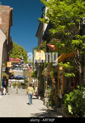 Historic Rue du Petit Champlain in the Lower Town area of Quebec City, Canada - Stock Photo