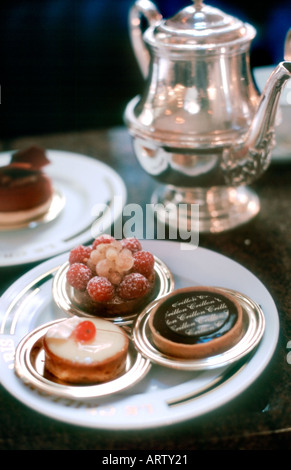 Paris France, Detail, Tea Room, French Cafe in Luxury Hotel 'Le Crillon' Dessert Plates on Table - Stock Photo