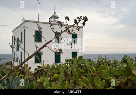 Lighthouse of Harbour, Capraia Island, Tuscany, Italy - Stock Photo