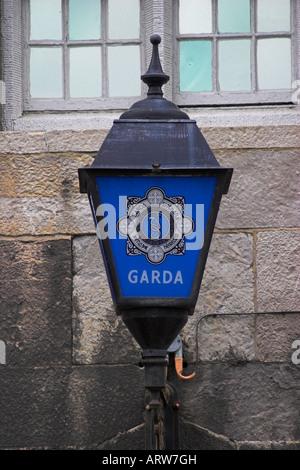 A blue Garda or Police lantern.  Dublin Castle. Dublin, County Dublin, Ireland. - Stock Photo