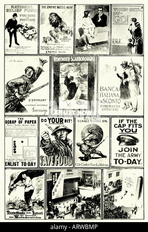 First World war. Announcements of different countries to enlist and loan. Antique illustration. 1914 - Stock Photo