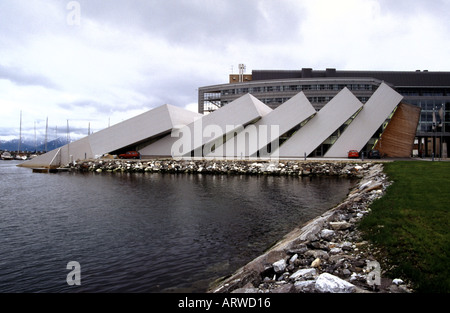 Polaria located at the harbour in Tromsoe Norway - Stock Photo