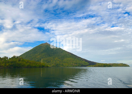 View of Gunung Api an active volcano in the Banda Islands of eastern Indonesia - Stock Photo
