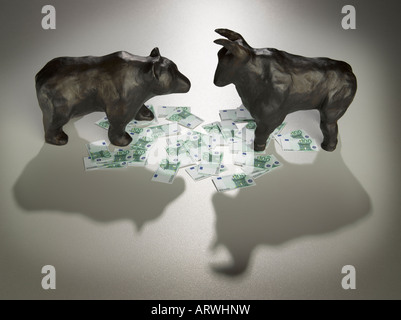 bear and bull with euro currency - Stock Photo