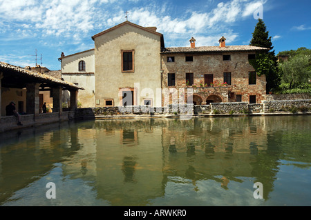 thermal baths of bagno vignoni near pienza val d orcia tuscany italy stock photo
