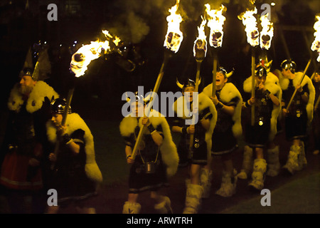 Viking Long boat burns in Lerwick Up Helly A 2008 - Stock Photo