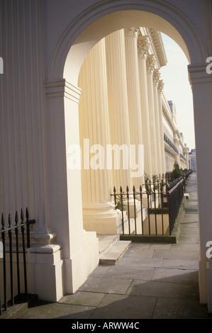 Chester Terrace, Regents Park, London  England Regency style  stucco terrace seen through arch. Architect John Nash, - Stock Photo